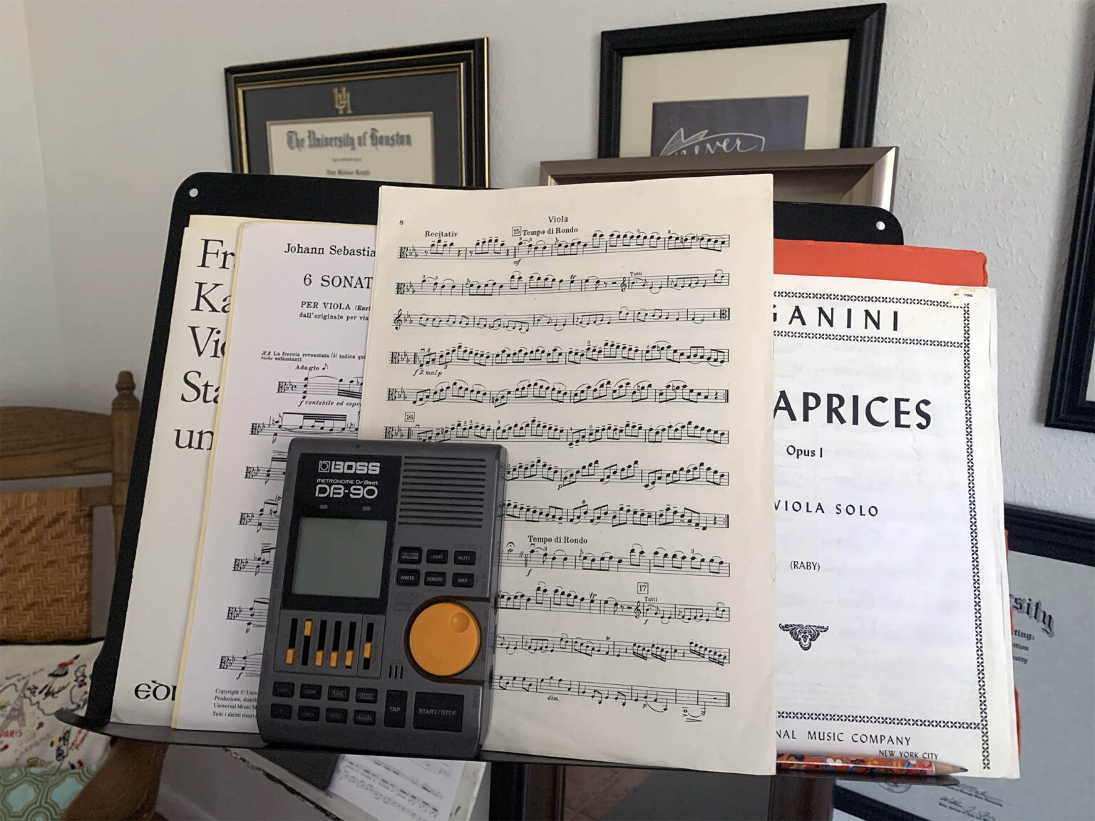 metronome and music on stand
